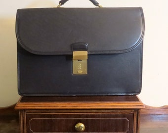 Dads Grads Sale Coach Diplomat Black Leather Briefcase Attache Laptop IPad Case- Combination Missing- Lock Stuck Won't Latch