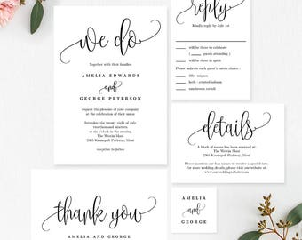 Wedding Invitation Suite Editable Template - Printable Wedding Invitation Set - Instant Download Lovely Calligraphy #LCC