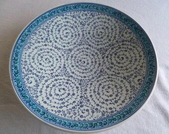 "Turkish Ceramic Platter, 12"" Platter, Golden Horn design, large serving plate, blue and white plate, dinner party platter, wedding present"