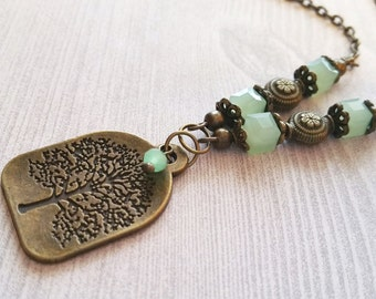 Tree of Life Necklace / Inspirational Necklace / Bead Necklace / Bronze Necklace / Tree Necklace / Family Tree Necklace