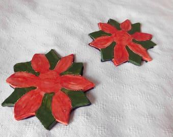 2 Poinsettia Coasters