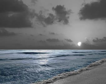 Black White Blue Coastal Decor, Sunset, Blue Ocean, Blue Seascape, Blue Gray Coastal Bathroom Bedroom Matted Artwork