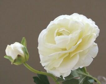 Large Ivory Ranunculus - Silk Flower, Artificial Flower – DIY Bride - Wedding Decoration