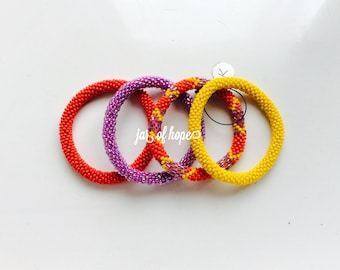 Nepal Bead Beaded Roll On Bracelet Set of 4 ~~~KIDS GIRLS~~~ Gift  Birthday  Red Purple Yellow Chevron