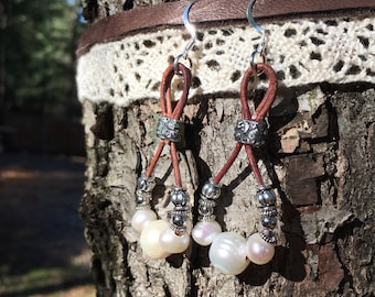 Leather and Freshwater Pearl Teardrop Earrings