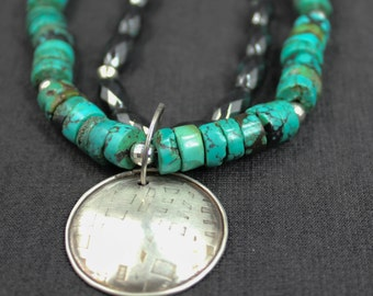 Turquoise Hematite Sterling Silver Necklace Southwest Turquoise necklace, turquoise necklace, sterling silver turquoise