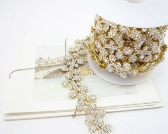 Gold Rhinestone Floral Leaf Trim, Rhinestone Trim, Rhinestone Applique, Wedding Trim, Clear Crystal Trim Applique, 25mm ( 1 Feet Qty)