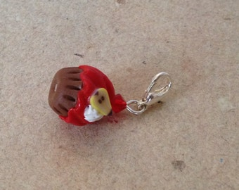 Cupcake red with pear and cream, charm, necklace pendant