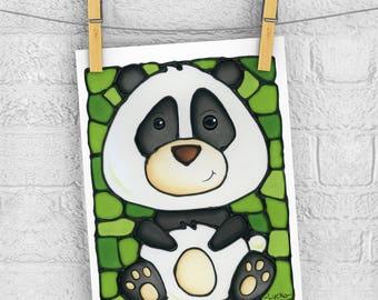 Panda Bear 5 x 7 Print - Discontinued - 50% OFF - Safari Themed Nursery Art - Baby Room Wall Hanging - Cute Panda - Zoo Animal Picture