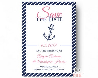 Nautical Save the Date (Printable) Nautical Wedding Announcement - Pink and Blue Nautical Save the Date - Blue and Pink Save the Date
