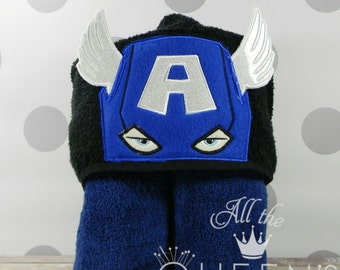 Toddler Hooded Towel - Captain America Hooded Towel - character inspired Captain America towel for Bath, Beach or Swimming Pool