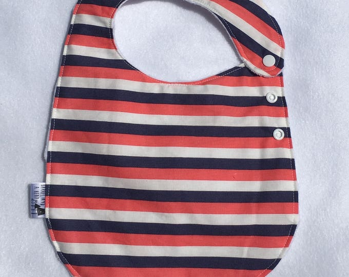 Circus Stripe Adjustable Side Snap Bib with Minky Back