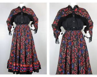 Vintage Cowgirl / Western / Rodeo Queen Two Piece Dress, Blouse / Skirt, Fringed Yoke, Full Skirt, Adobe Rose Label, Size Medium, Cotton