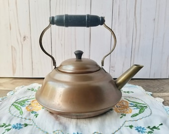Vintage Copper And Brass Tea Kettle, Little Copper Teapot, Country Farmhouse Tea Kettle With Wood Handle, Copper Tea Kettle Great Patina