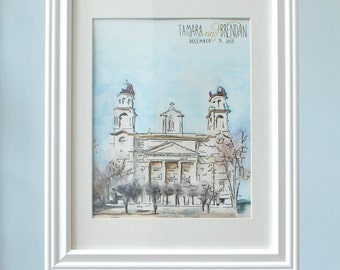 Where We Got Married, Church Painting, Watercolor Painting, Wedding Gift