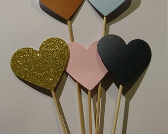 x50 Heart lollipops hearts on a stick rose gold custom colour wedding decorations, handmade wedding, entrance decorations, heart decorations