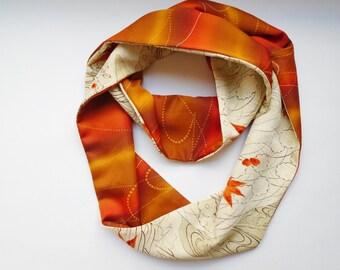 Sunset Maple Japanese Silk Infinity Scarf - Vintage Japanese Silk Kimono Fabric