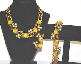 Dior Attributed Vintage Art Glass Necklace Bracelet Earring Set