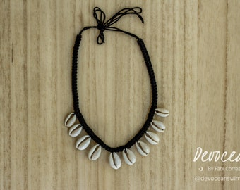Cowrie Shell Necklace - Gypsy Necklace - Black Cowrie Shell Necklace - Boho Necklace
