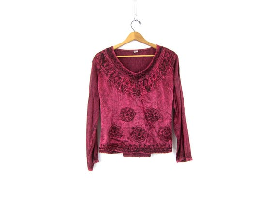 90s India Top Rosy Red Embroidered Blouse Embroidery Top Loose Fit Boho Hippie Long Sleeve Rayon Shirt Vintage Womens Size Medium