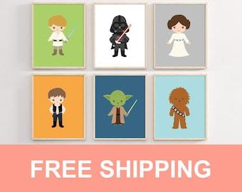 Star Wars Nursery Wall Decor, CUSTOM COLORS, starwars wall prints, color customized wall prints, high quality prints set of 6 prints