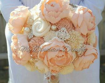 Peony Bouquet, Wooden Flower,  Sola Flower Bouquet, Pink Peony Bride Bouquet, Bride bouquet, brooch bouquet, Sola Flower Bride Bouquet