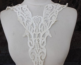 Cute venice applique  ivory  color 1 pieces listing 12 1/2 inches wide at the neck 16 1/2 inches long from shoulder down