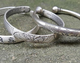 JoyGemstones, 100% SOLID Sterling Silver lotus bangle, Heart Sutra carved