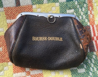 Antique French Leather Purse
