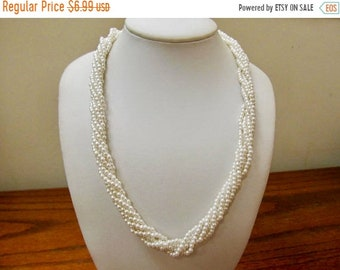 ON SALE Vintage Multi Strand Faux Pearl Necklace Item K # 567