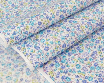 Fabric Japanese blue floral silky cotton lawn White x 50cm