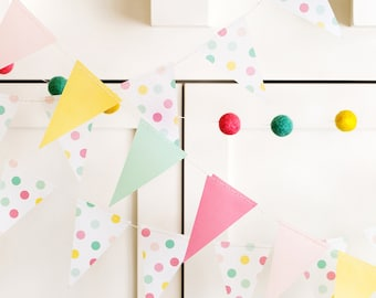 Pastel Party Pennant Banner | Pastel Party Decor Vellum Mini Flags Party Banner Pastel Birthday Baby Shower Bridal Shower Bunting Flags HRP