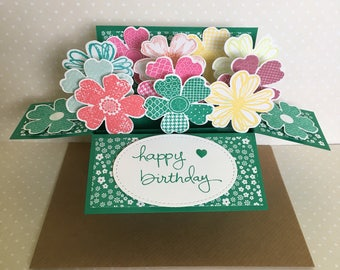 Happy Birthday Card / Pop Up Card / 3D Card in a box/ Explosion Card / Green multi coloured pansy flowers /handmade /Hand stamped