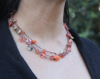 woven necklace // orange earthy // triple strand // multi strand // vintage buttons // hemp twine // eco gifts // gifts for her