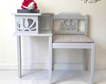 Sold--Telephone Bench, Gossip Bench, painted gray, entryway furniture, farmhouse decor, statement piece, chair, home decor, hand painted