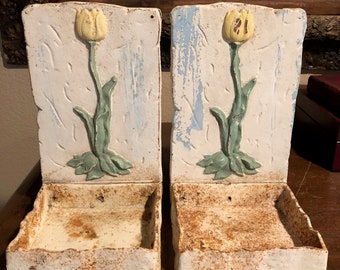 Pair of Vintage Wall Mounted Plant Holder, Metal Plant Holders, Metal Bookends, Tulip Decor Plant Holder, Plant Holder for Wall,