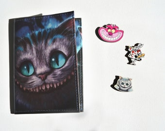 Passport cover - Cheshire Cat -  Passport Case - Travel Passport - Alice's Adventures in Wonderland