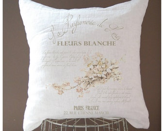 French Linen Pillow. French Country Pillow Cover. Shabby Chic Pillow. French Perfume. Mothers Day Gift. Spring Pillow.