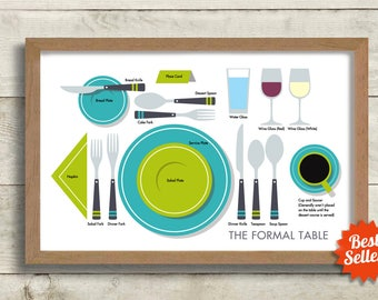 Table Setting Guide Kitchen Art Gift Table Manners Good Etiquette Art Print Mid Century Kitchen Decor Good Manners Formal Place Setting