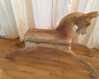 Unique Carved wooden horse. Rocking horse, Fairground horse. Sculpture