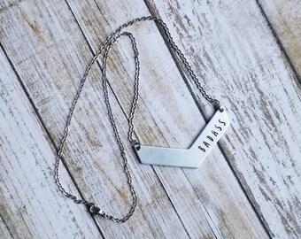 Badass Jewelry, Chevron Necklace, Badass Necklace, Silver Chevron, Badass Chevron, Swear Word Jewelry for Women, Edgy Jewelry, Edgy Gifts