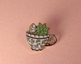 Teacup Terrarium Enamel Pin - Lapel Pin