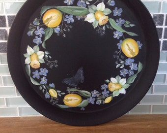 Hand painted toll tray with butterfly