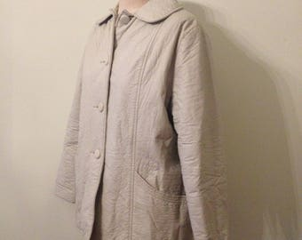 1950's Cream Crinkle Leather Jacket with Peter Pan Collar and Warm Quilted Lining