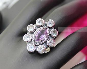 Amethyst, Topaz Ring, 925 Sterling Silver Ring, Gemstone Rings, Crystal Rings, Healing Rings