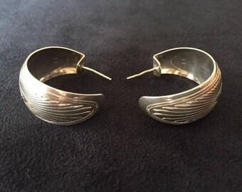 Vintage Silver Southwest Hoop Earrings