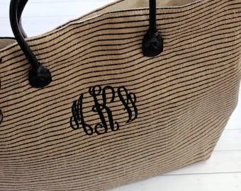 Tote Bag - Monogram Tote Bag - Jute Tote Bag - Large Tote bag - Monogram - Beach Bag - Monogram Tote - Beach Bag  - Bridesmaids Gift