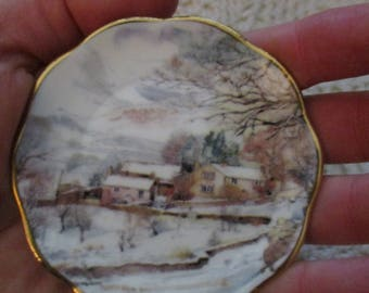 Miniature Plate - Country Cottage Winter Snow Scene
