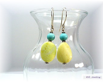 Yellow Earrings, Yellow Jade and Turquoise Earrings, Lemon Yellow Serpentine - E-0908-15A