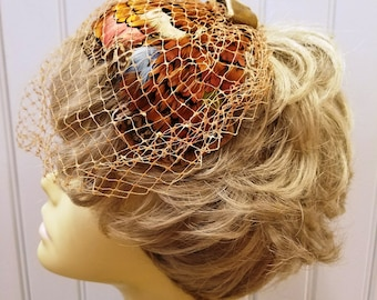 Vintage Veiled Multi Colored Feathered Head Piece, ca 1950s